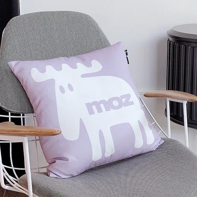 moz瑞典 北歐風雙面抱枕套(經典LOGO-藕紫)45cm