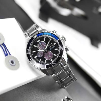 CITIZEN / 限量款 光動能 計時碼錶 日期視窗 不鏽鋼手錶 (CA0719-53E)-黑x銀/44mm