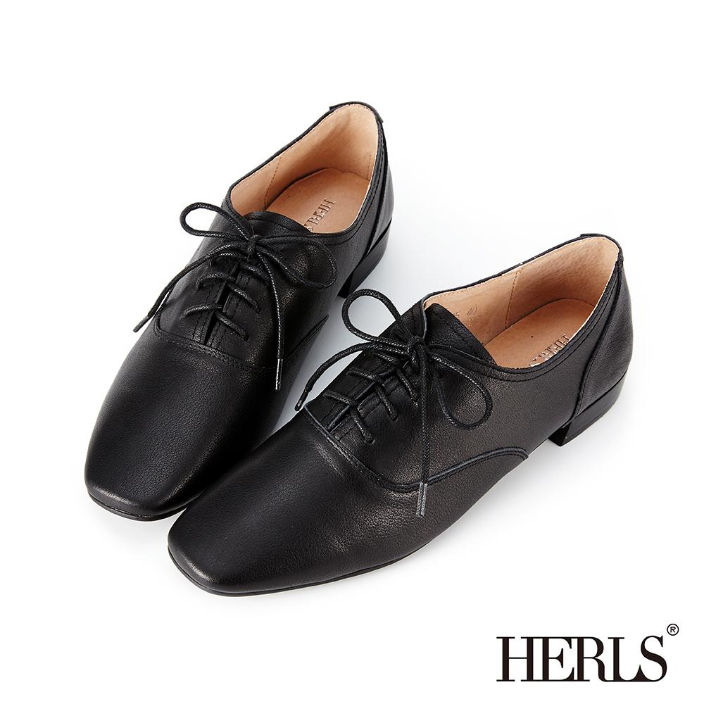 HERLS 經典重現 全真皮百搭素面方頭牛津鞋-黑色