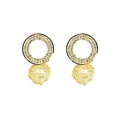 Prisme 美國時尚飾品 微光水晶珍珠編織 金色耳環 耳針式