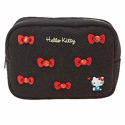 Sanrio HELLO KITTY刺繡及水鑽鑲飾大開口方型化妝包(蝴蝶結)