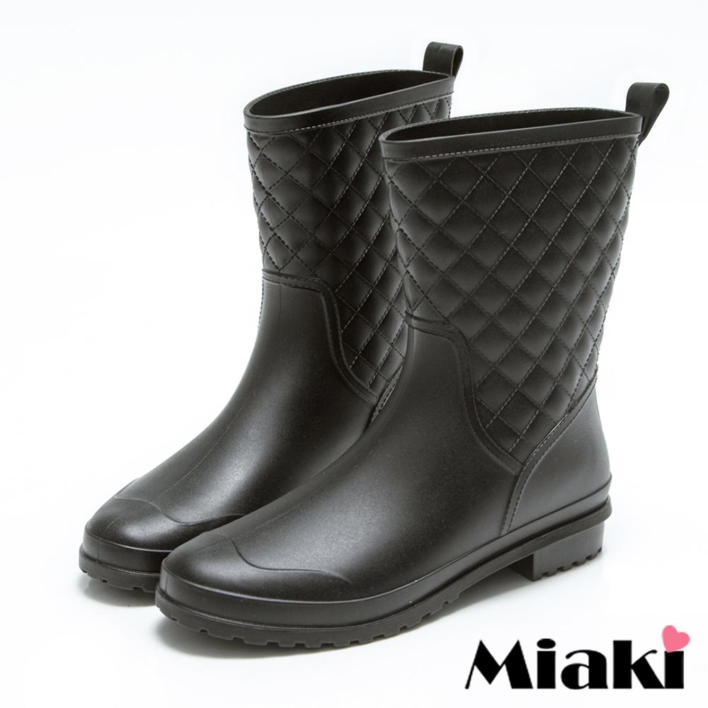 Miaki-雨靴韓皮質菱形格紋中筒低跟雨鞋-黑色
