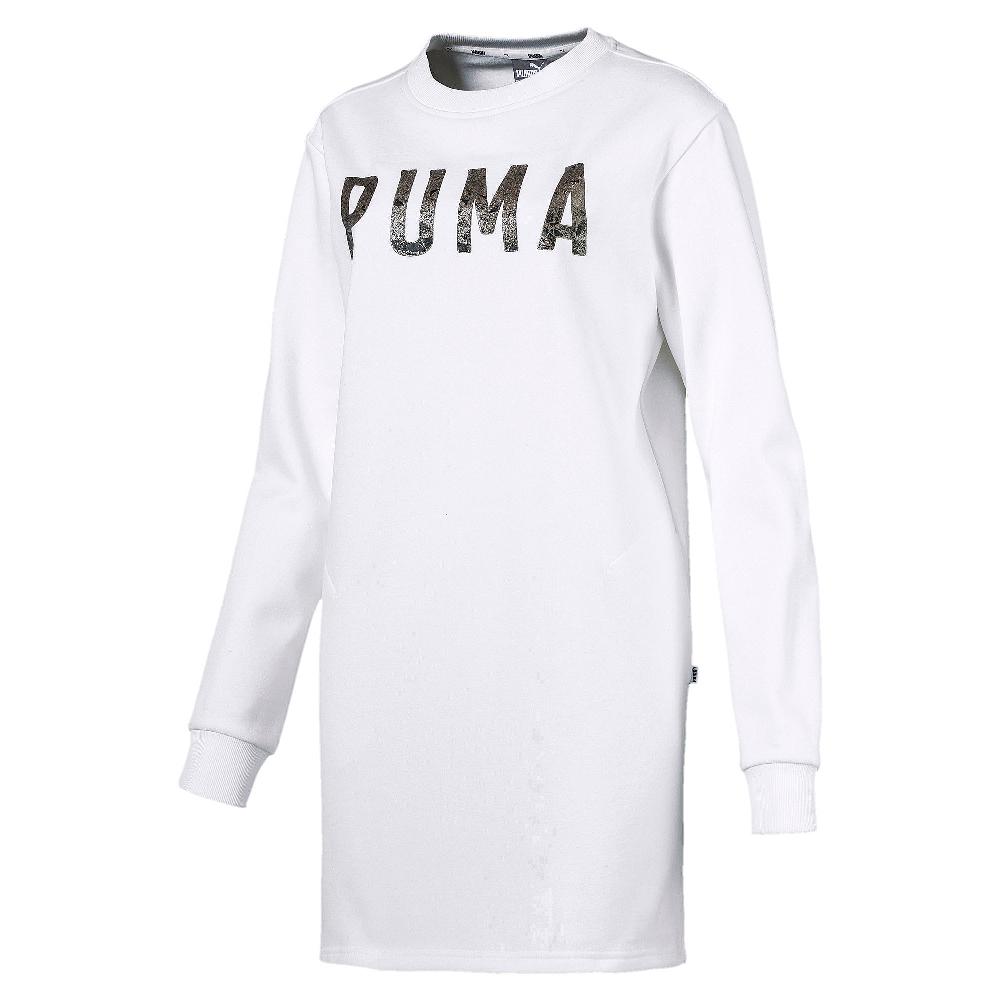PUMA-女性基本系列運動風刷毛連身裙-白色-歐規