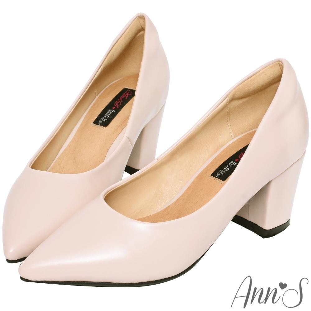 Ann'S加上優雅高跟版-復古皮革沙發後跟尖頭鞋-粉