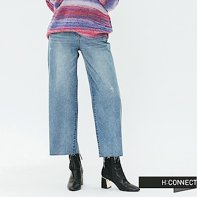 H:CONNECT 韓國品牌 女裝-鬆緊不收邊牛仔寬褲-藍