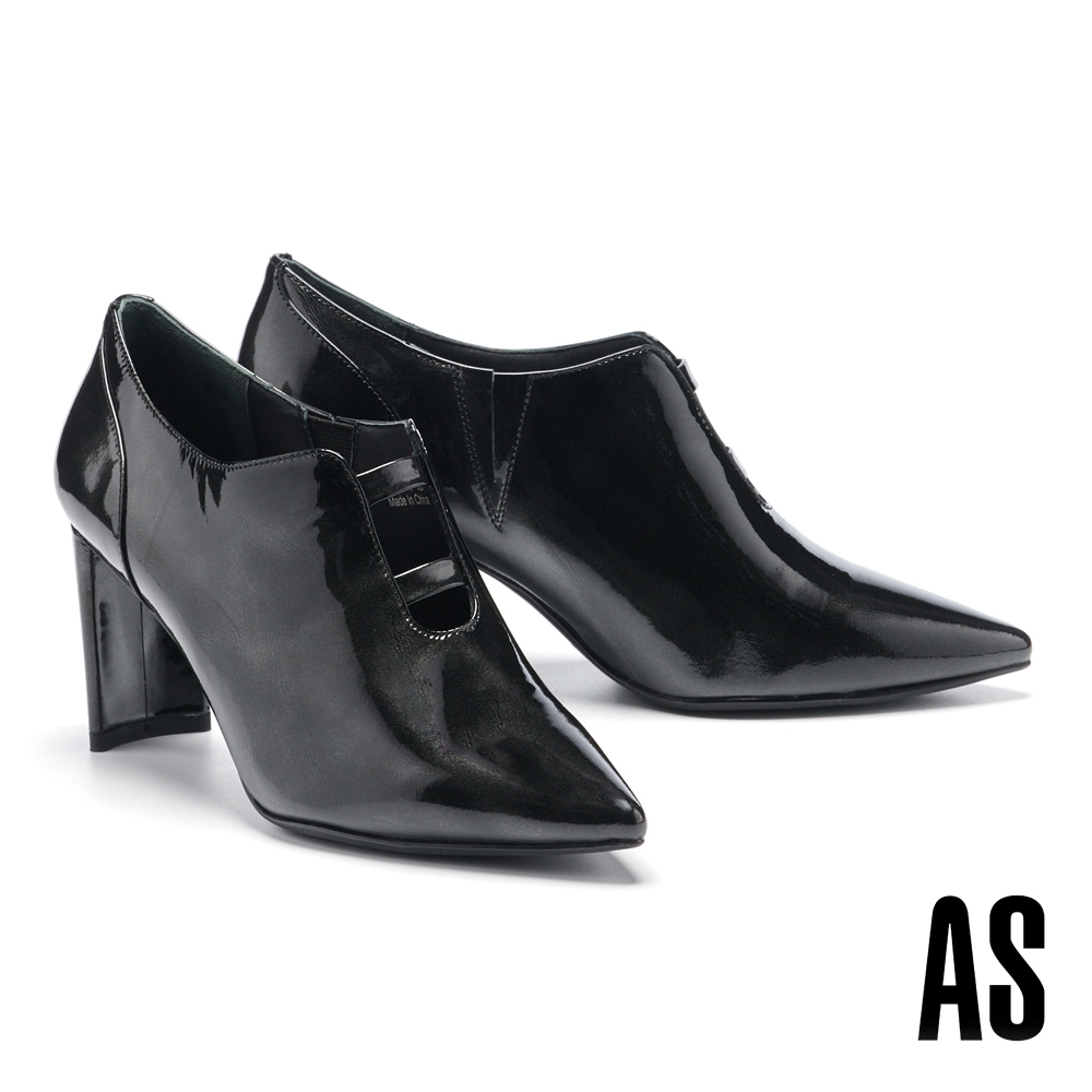 踝靴 AS 時髦俐落U口鏤空造型全真皮尖頭高跟踝靴-黑