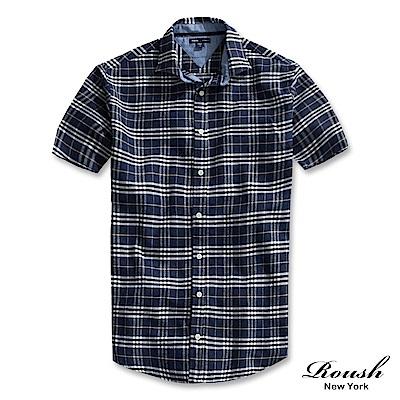 Roush 牛仔撞色法蘭絨格紋短袖襯衫(2色)