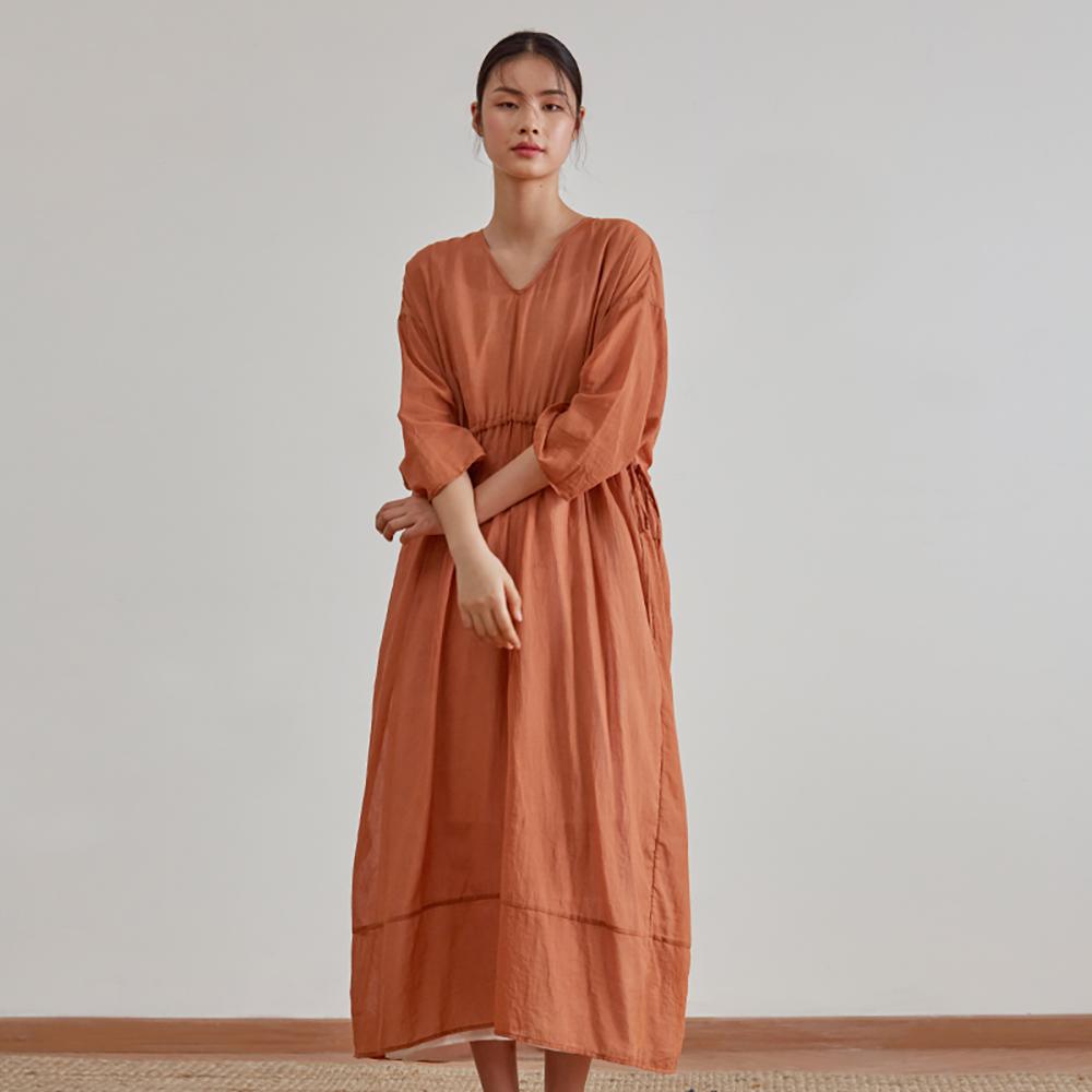 旅途原品_兩故事_原創設計棉麻收腰雙層連衣裙-橘紅