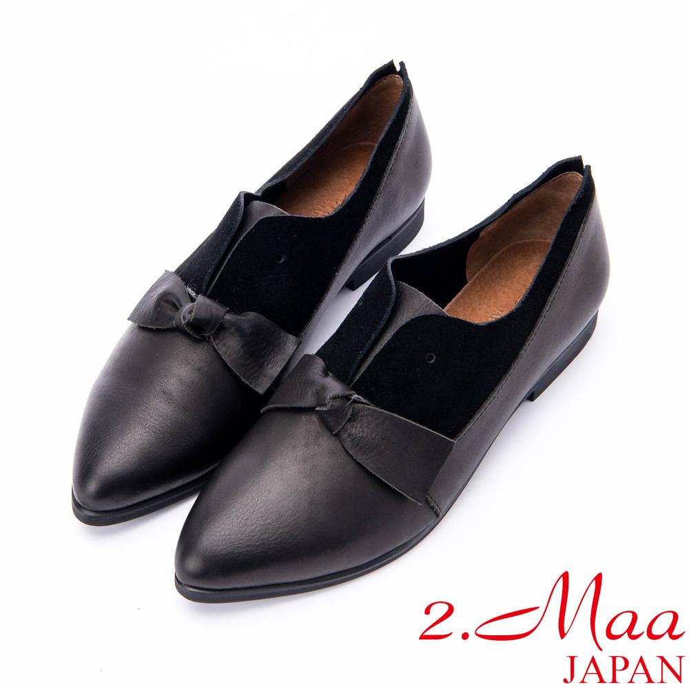 2.Maa 可愛蝴蝶結牛皮尖頭休閒包鞋 - 黑