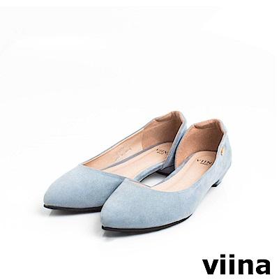 viina Basic素面羊絨布內簍空尖頭鞋 - 灰藍