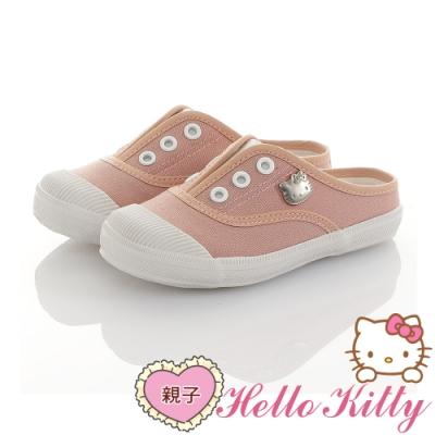 HelloKitty親子鞋童鞋 輕量減壓帆布懶人穆勒鞋-粉
