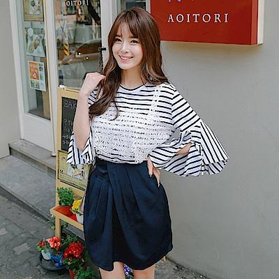 腰際打摺設計素色光澤感寬鬆包裙.2色-OB大尺碼