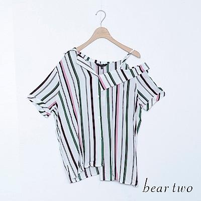 beartwo 配色條紋不規則斜肩帶襯衫領上衣(二色)