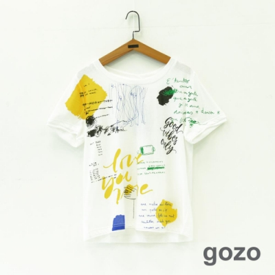 gozo 率性混搭設計印花造型棉T(白色)
