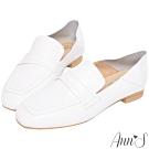 Ann'S會呼吸的舒適-小羊皮全真皮兩穿平底穆勒紳士鞋-白(版型偏大)