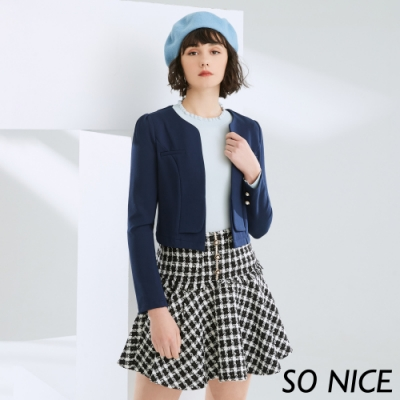 SO NICE俐落修身短版羅馬布外套