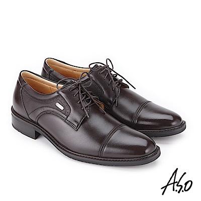 A.S.O 勁步雙核心 綁帶牛皮奈米紳士鞋 咖啡