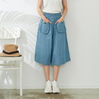 慢 生活 鬆緊口袋七分單寧寬管褲- 淺藍