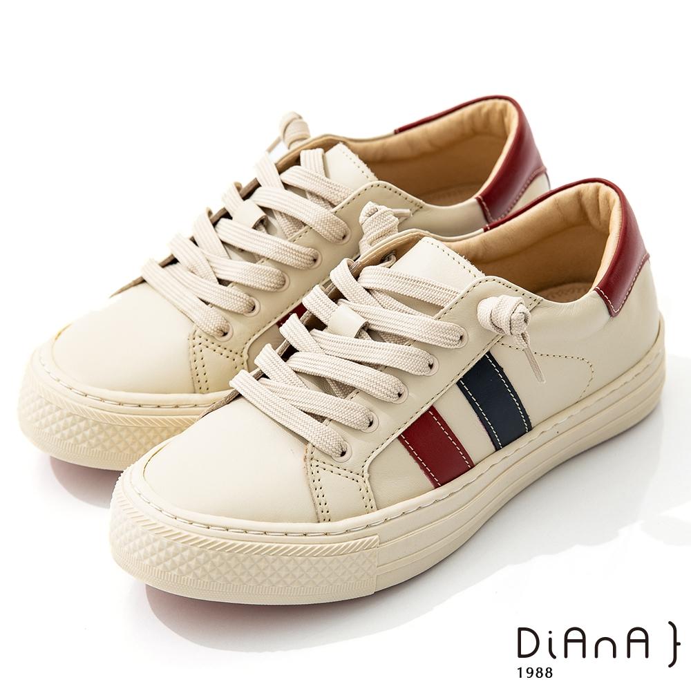 DIANA 3.5cm質感牛皮經典線條設計免綁帶圓頭休閒鞋-漫步雲端焦糖美人-紅X藍