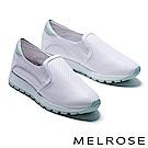 休閒鞋 MELROSE 簡約率性沖孔造型拼接全真皮厚底休閒鞋-綠