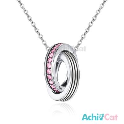 AchiCat情侶雙圈項鍊925純銀項鏈閃爍愛戀/單鍊