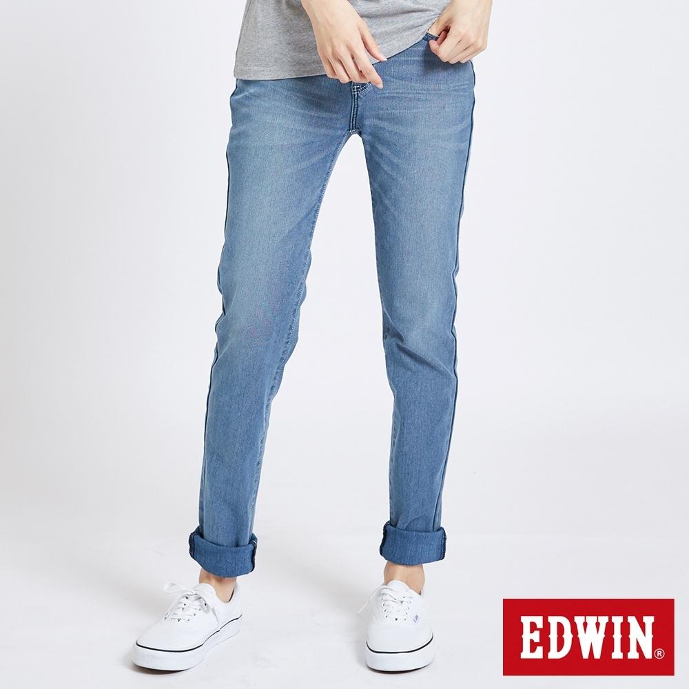 EDWIN JERSEYS 迦績輕量 AB牛仔褲-女-石洗藍