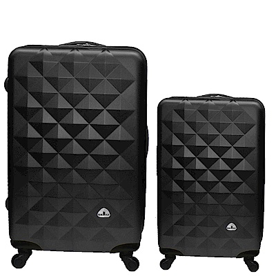Bear Box 立體菱格晶鑽系列經典二件組28吋20吋 輕硬殼旅行箱行李箱-黑色