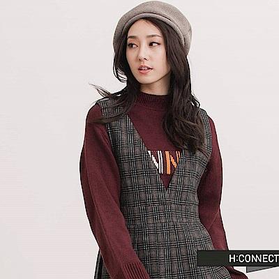 H:CONNECT 韓國品牌 女裝 - 格紋百褶吊帶裙-卡其(快)