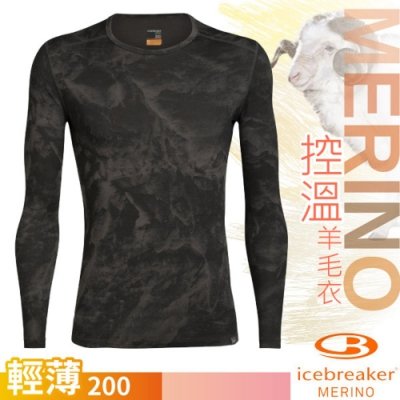 Icebreaker 男新款 200 Nature Dye Oasis 美麗諾羊毛天然印染輕薄款長袖圓領上衣.控溫衛生衣.內搭衣_潑墨黑