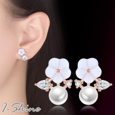 I-Shine-正白K-花無缺-韓國貝殼花朵珍珠氣質樹枝耳針耳環DB58