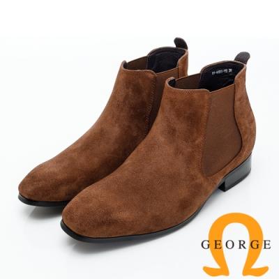 GEORGE 喬治皮鞋 內增高系列素面直套式低跟踝靴-咖啡色