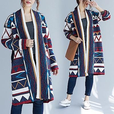 花紋開衫寬鬆針織外套-F-Keer