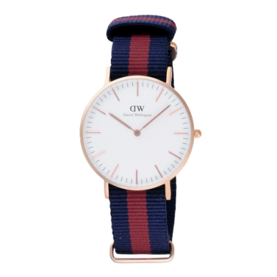 Daniel Wellington Oxford 時尚女錶-玫瑰金框白x藍紅帶