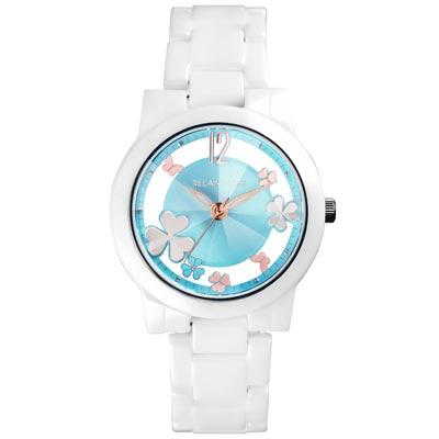 RELAX TIME Garden系列 鏤空陶瓷腕錶 RT-80-5 白X藍/38mm