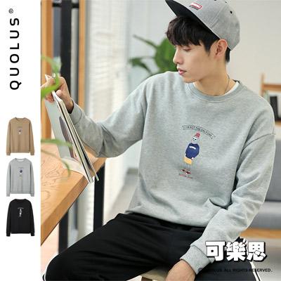 可樂思 韓系 潮流老人 縮口 圓領 男生長袖T恤