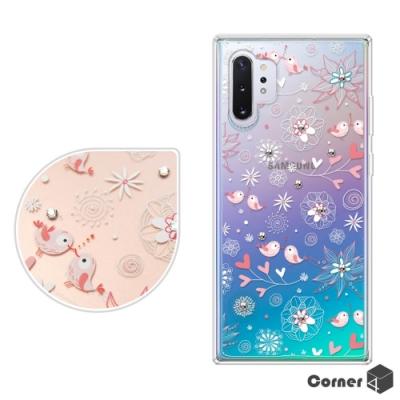 Corner4 Samsung Note 10+ 奧地利彩鑽雙料手機殼-知更鳥