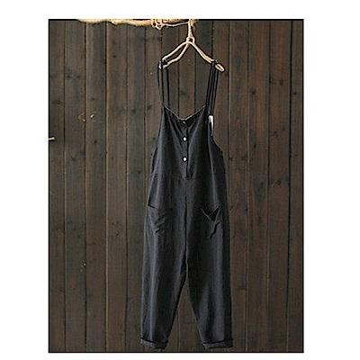 寬鬆墜感寬管背帶褲棉麻連身九分褲-設計所在