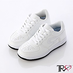 【T2R】皮感素面百搭女款內增高休閒鞋 ↑6cm 白