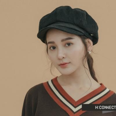 H:CONNECT 韓國品牌 配件 - 復古燈芯絨報童帽 - 黑