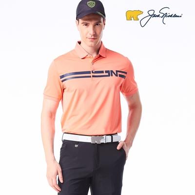 【Jack Nicklaus】 金熊GOLF男款條紋印花吸濕排汗POLO衫-橘色