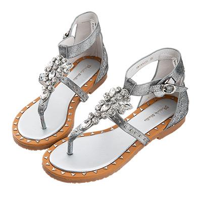 Robinlo 狂野性感金屬牛皮羅馬涼鞋 銀色