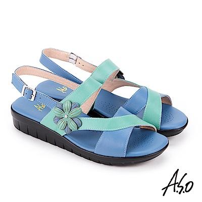 A.S.O 希臘渡假 花飾撞色全真皮記憶鞋墊休閒涼鞋 藍