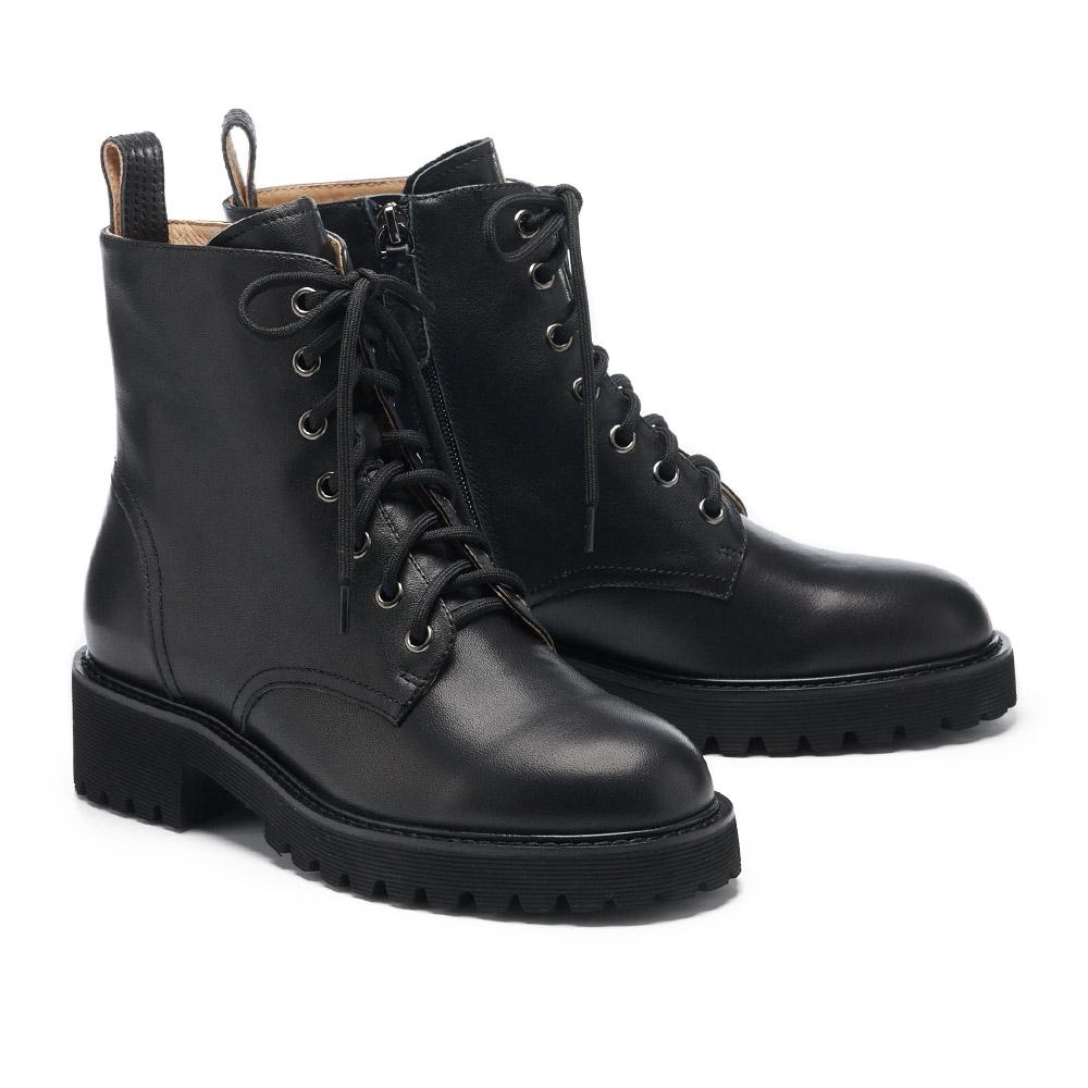 短靴 HELENE SPARK 簡約率性態度全真皮綁帶厚底短靴-黑