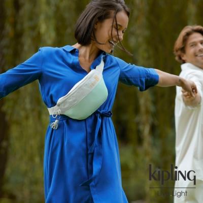 Kipling 清新薄荷綠拼接網點潮流隨身腰包-FRESH