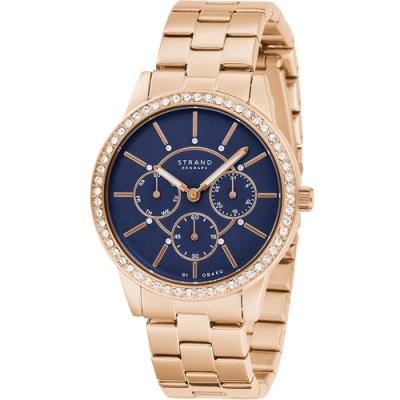 STRAND 丹麥海之星璀璨星空腕錶 / 玫瑰金藍-37.5mm(S707LMVLSV)