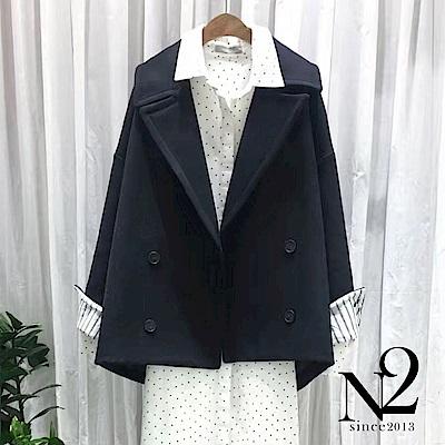 外套 正韓翻領落肩雙排釦設計前短後長羊毛外套 (深藍) N2