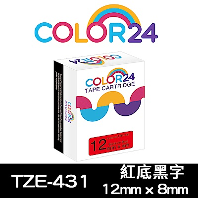 Color24 for Brother TZe-431 紅底黑字相容標籤帶(寬度12mm)