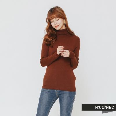 H:CONNECT 韓國品牌 女裝 -修身高領針織上衣-棕(快)