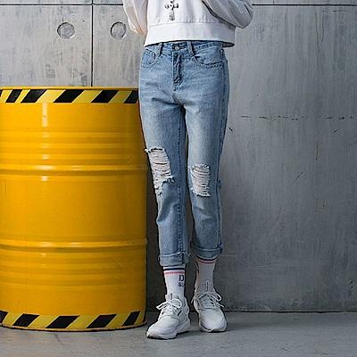 DADA SUPREME 前後刷破前衛牛仔褲-女-淺藍
