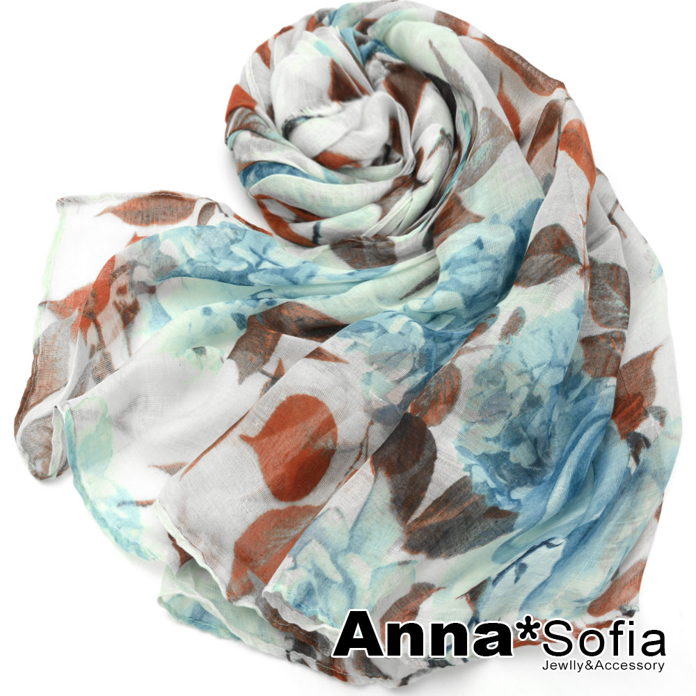 AnnaSofia 菲葉瑰影 巴黎紗披肩圍巾(藍綠咖系)